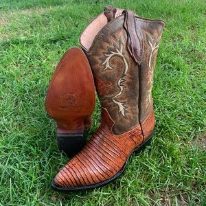 MENS COWBOY BOOTS LIZARD PRINT LEATHER HONEY BOTAS